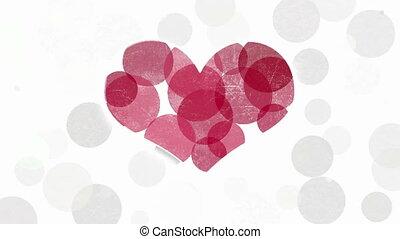 coeur, symbole, animation, résumé, rouges