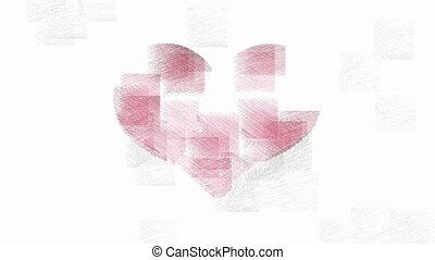 coeur, symbole, animation, rouges, élégant