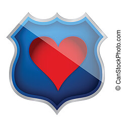 coeur, symbole, bouclier, illustration, icône