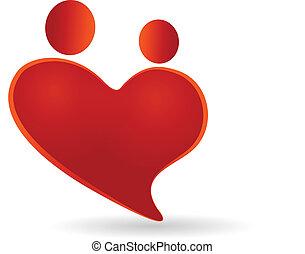 coeur, symbole, couples, vecteur, logo, icône