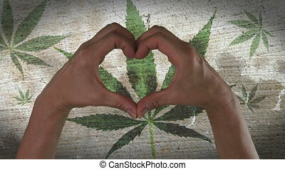 coeur, symbole, feuille, marijuana, mains