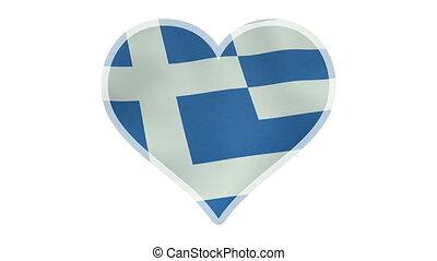 coeur, symbole, loopable, drapeau grec, battement