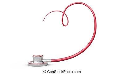 coeur, symbole, stéthoscope, fond blanc