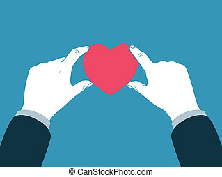 coeur, symbole, tenant main