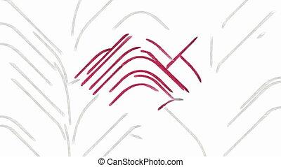 coeur, tableauabstrait, symbole, rouges