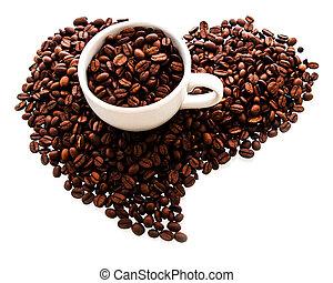coeur, tasse à café, arrière-plan., forme, haricots, rôti, blanc, isolted