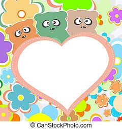 coeur, teddy, grand ours, vecteur, fleurs