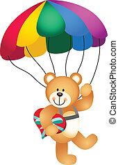 coeur, tenir ours nounours, parachute