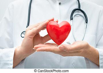 coeur, tenue, docteur