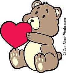 coeur, tenue, ours, teddy
