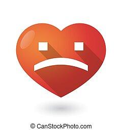coeur, texte, isolé, figure, triste, rouges