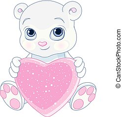 coeur, tient, ours, teddy