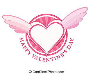 coeur, timbre, ailes, valentin, jour, heureux