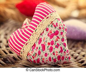 coeur, tissu, valentine, sur, fait main, day., bois, fond