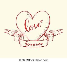 coeur, toujours, amour, lettrage