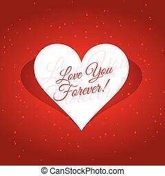 coeur, toujours, message, amour, vous