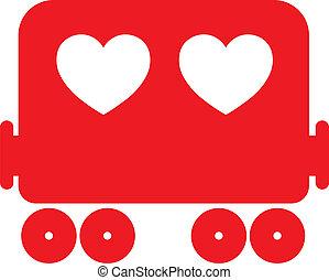 coeur, train, vecteur, illustration