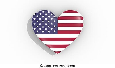 coeur, usa, couleurs, drapeau, impulsions, boucle