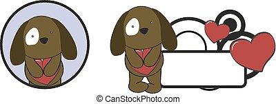 coeur, valentin, étreinte, dessin animé, chien