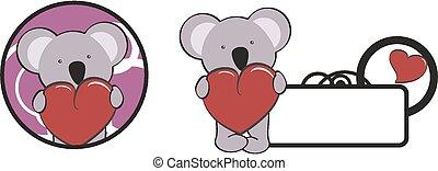 coeur, valentin, étreinte, dessin animé, koala