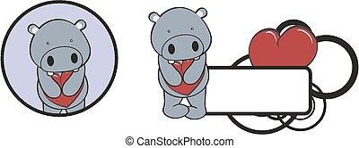 coeur, valentin, hippopotame, étreinte, dessin animé