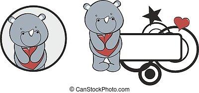 coeur, valentin, rhinocéros, étreinte, dessin animé