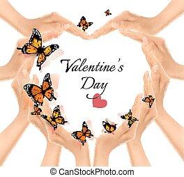 coeur, valentine, butterflies., arrière-plan., forme, vector., mains, jour