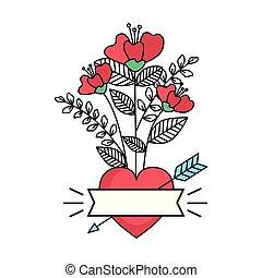 coeur, valentines, amour, carte, roses