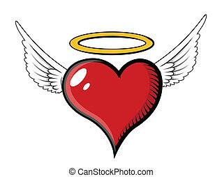 coeur, vecteur, -, ange, illustration