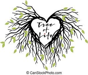 coeur, vecteur, arbre, vie