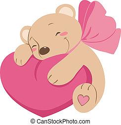 coeur, vecteur, doux, ours, teddy