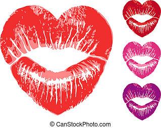 coeur, vecteur, ensemble, lèvres, rouges