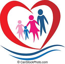 coeur, vecteur, famille, logo