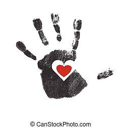 coeur, vecteur, handprint, rouges, symbole.