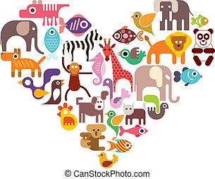 coeur, vecteur, icônes animales