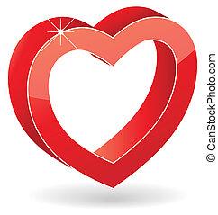 coeur, vecteur, lustré, rouges, 3d
