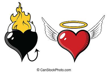 coeur, vecteur, -, mal, ange
