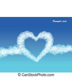 coeur, vecteur, nuages, arrière-plan., ciel