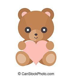 coeur, vecteur, ours, teddy