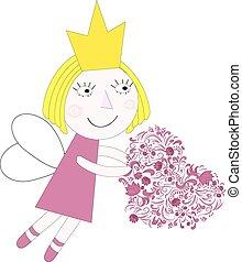coeur, vecteur, princesse, illustration