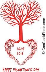 coeur, vecteur, rouges, arbre