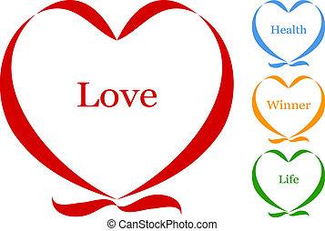 coeur, vecteur, ruban, texte