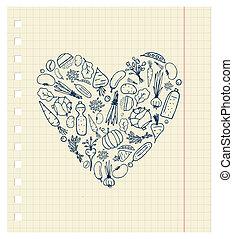 coeur, vie, sain, légumes, -, forme, conception, ton