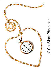 coeur, vieux, fond, isolé, chaîne, montre poche, blanc