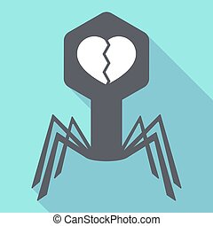 coeur, virus, ombre, long, cassé