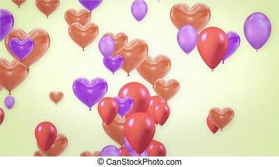 coeur, voler, alpha, rose, channel., beau, boucle, pourpre, 4k, animation, ballons