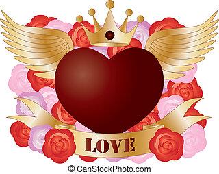 coeur, voler, bannière, roses