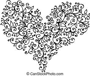 coeur, xviii, romantique, vignette