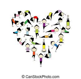 coeur, yoga!, forme, conception, amour, ton