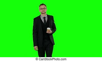 coffee., business, marche, screen., homme, tasse, boire, vert
